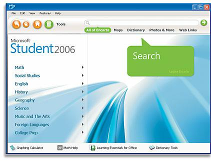 Microsoft Student 2006 screen image